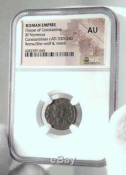 Constantine I Le Grand 330ad Romulus Remus Wolf Antique Romaine Monnaie Ngc I81668