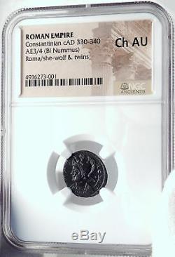 Constantine I Le Grand 330ad Romulus Remus Wolf Antique Romaine Monnaie Ngc I81823