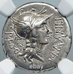 Dictator Sulla In Chariot Authentique Antique 82bc Pièce D'argent De Rome Ngc I88893