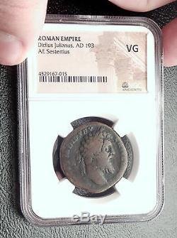 Didius Julianus 193ad Sestertius Rare Authentique Pièce De Monnaie Romaine Antique Ngc Vg I61928