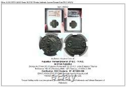 Divus Augustus 22ad Rome Altar Tibère Authentique Monnaie Romaine Ancienne Ngc I60242