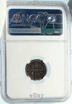 Divus Jules Cesar Portrait 44bc Rome Antique Argent Romaine Monnaie Ngc I84271