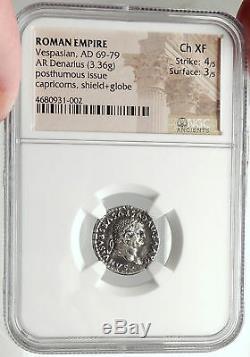 Divus Vespasien 80ad Argent Ancienne Pièce De Monnaie Romaine De Titus W Capricornes Ngc I68164