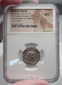 Divus Vespasien Consecratio Sous Trajan Dèce Argent Romaine Monnaie Ngc Au I60096