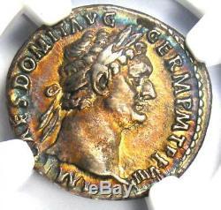 Domitien Romain Auguste Ar Denier Coin 81-96 Ad Ngc Xf Arc-en-tone