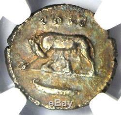 Domitien Romain César Ar Denarius Silver Coin 81-96. Certifié Ngc Xf (ef)
