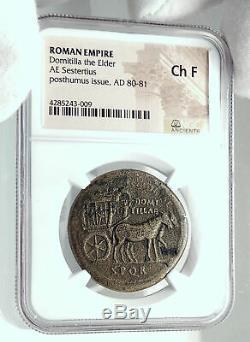 Domitilla Vespasien Femme 80ad Sestertius Rome Sous Titus Roman Coin Ngc I79212
