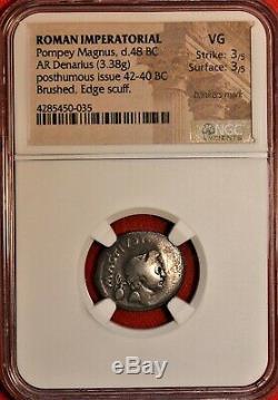 E-coins Australie Sextus Pompée Ar Denarius Ngc Vg Pièce Romaine Imperatorial