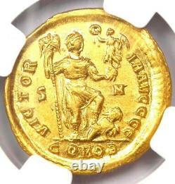 Eastern Roman Arcadius Av Solidus Gold Coin 383-408 Ad. Certifié Ngc Choice Au