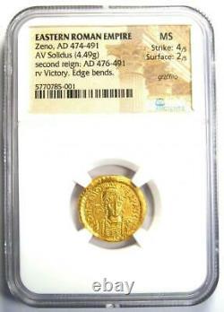 Eastern Roman Zeno Av Solidus Gold Coin 474-491 Ad Certifié Ngc Ms (unc)