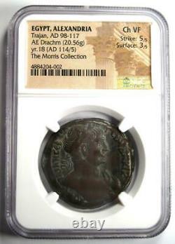 Égypte Romaine Alexandria Trajan Ae Drachm Coin 114 Ad Certifié Ngc Choice Vf