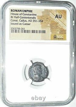 Empereur Romain Constantin Gallus Coin Ngc Certifié Ua Avec Histoire, Certificat