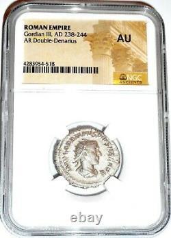 Empereur Romain Denier D'argent De Gordien III Monnaie Ngc Certifié Ua Et Histoire