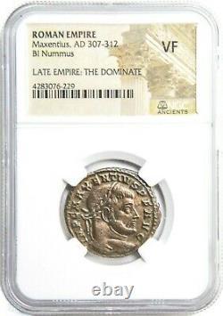 Empereur Romain Maxentius Bronze Coin Ngc Certifié Très Fine & Story, Certificat
