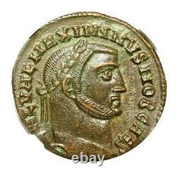 Empereur Romain Maximinus II Bronze Bi Nummus Coin Ngc Certifié Ua Avec Histoire