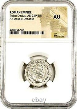 Empereur Romain Trajan Decius Double Denarius Coin Ngc Certifié Ua, Avec Histoire