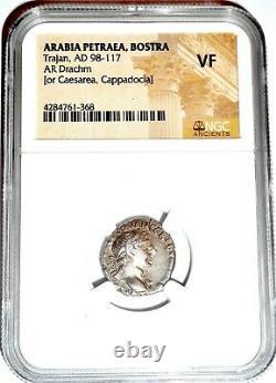 Empereur Romain Trajan Drachme Coin Ngc Certifié Vf Avec L'histoire, Certificat