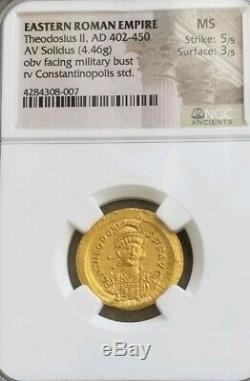 Empire Doré Romain Théodose II Ngc Ms 5/3 Pièce D'or Ancienne
