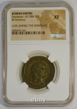 Empire Romain Ad 284-305 Bi Nummus Pièce Ancienne Pour Dioclétien, Ngc Classé Xf