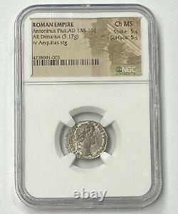 Empire Romain Antoninus Pie Ad 138-161 Argent Denarius Rare Ngc Chms Superbe Pièce