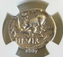 Empire Romain Auguste Denier Lion Attacks Stag Ngc Vf Antique Silver Coin