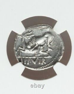 Empire Romain Augustus Denarius Lion Attaque Cerf Ngc Vf Pièce D'argent Antique