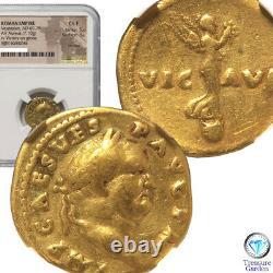 Empire Romain Av Aureus Coin 7.10g 69 Ad Ngc Ch F Livraison Gratuite En Provenance Du Japon(8432n)