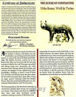 Empire Romain Constantine, Bi Nummus Roma / Shewolf & Twins Coin Ngc Certifié Xf