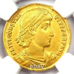 Empire Romain Constantius II Av Solidus Gold Coin 337-361 Ad Ngc Au 5 Strike