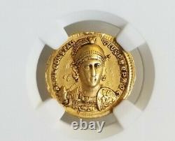 Empire Romain Constantius II Solidus Ngc Ch Vf 5/3 Pièce D'or Antique