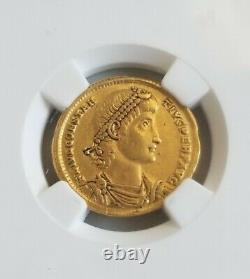 Empire Romain Constantius II Solidus Ngc Xf 5/3 Pièce D'or Antique