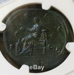 Empire Romain Crispine Salus Feeds Serpent Sestertius Ngc Vf Ancienne Pièce De Monnaie
