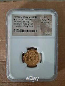 Empire Romain D'orient Ancien Av Solidus Ngc Classé Pièce D'or
