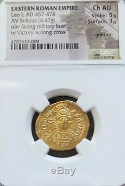 Empire Romain D'orient Leo I Solidus Ngc Choix Au 5/3 Or Ancienne Pièce De Monnaie