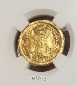 Empire Romain De L'est Théodose II Gold Solidus Ngc Xf Pièce Antique
