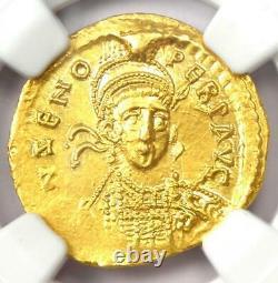 Empire Romain De L'est Zeno Av Solidus Gold Coin 474-491 Ad Ngc Ms (unc)