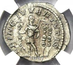 Empire Romain Diadumenian Ar Denarius Coin 218 Ad Certifié Ngc Au