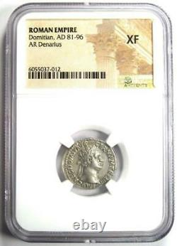 Empire Romain Domitian Ar Denarius Silver Coin 81-96 Ad Certifié Ngc Xf (ef)