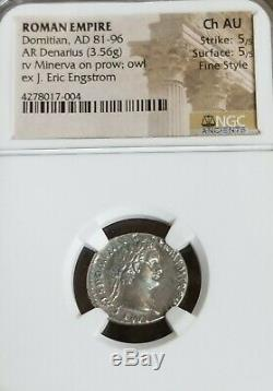 Empire Romain Domitien Denier Ngc Ch Au 5/5 Fin De Style Antique Pièce D'argent