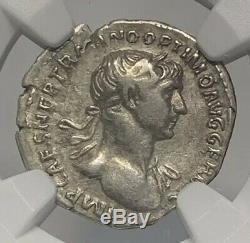 Empire Romain Empereur Trajan Denier Ad 98-117 Ancien Argent Monnaie Ngc Ch Vf