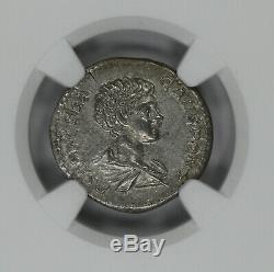 Empire Romain Geta Annonce 209-211 Denier Ngc Ancienne Pièce De Monnaie Choix Xf (38008)