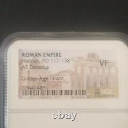 Empire Romain Hadrien 117 Ad-138 Ad Denarius Coin Ngc Classé Vf