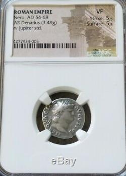 Empire Romain Jupiter Nero Denier Ngc Vf 5/5 Antique Silver Coin