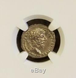 Empire Romain Marc-aurèle Denier Ngc Ms 5/5 Ancient Silver Coin