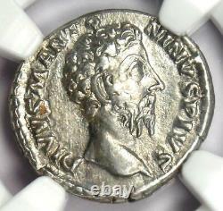 Empire Romain Marcus Aurelius Ar Denarius Coin 161-180 Ad Certifié Ngc Xf
