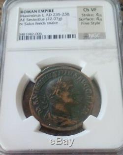 Empire Romain Maximinus I Sesterce Fin Style Ngc Choix Vf 4/4 Pièce Ancienne