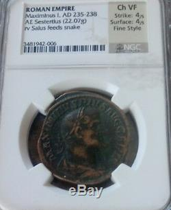 Empire Romain Maximinus Ier Sestertius Style Fin Ngc Choice Vf 4/4 Pièce Ancienne