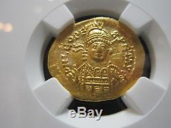 Empire Romain Oriental Léon Ier 457-474 Av Solidus (4.47g) Ngc Ch Au Pièce D'or