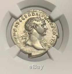 Empire Romain Trajan Denier D'argent Ad 98-117 Argent Ancienne Pièce De Monnaie Ngc Certifié