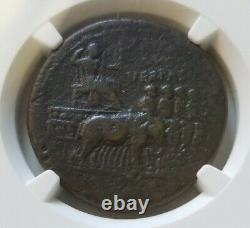 Empire Romain Vespasian Sestertius Elephant Quadriga Ngc Vf Ancienne Pièce